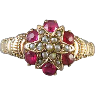 Antique Victorian 10K rose gold / pink gold / starburst / seed pearl ruby halo ring / star / size 5-3/4