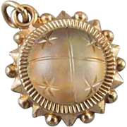 Antique Victorian gold filled celestial iridescent frosted camphor glass orb engraved stars and agate fob / charm / pendant / watch chain