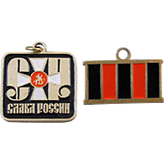 Russian USSR CCCP Slava rosii Слава России Glory to Russia pendant and pinback / pin / medal / badge / charm / Maltese cross / red / black