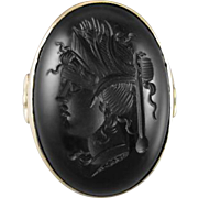 Large antique Edwardian 14k gold black onyx intaglio cameo ring / size 7 / statement ring / goth / gothic / cameo / warrior / princess