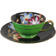 Vintage hand painted Merit Japan demitasse cup and saucer / black / green / porcelain / china / bone china / shabby chic / tea / coffee