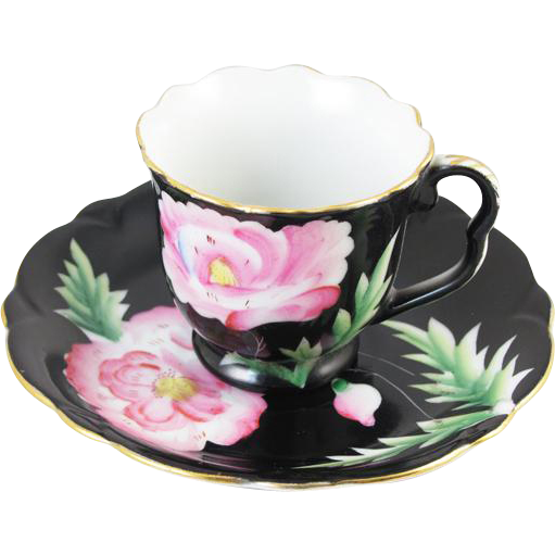 Vintage hand decorated scalloped edge Shafford Japan demitasse cup and saucer / black / pink / porcelain / china / bone china / tea / coffee