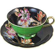 Vintage hand painted Merit Japan cup and saucer / black / green / porcelain / china / bone china / shabby chic / tea / coffee