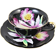 Vintage hand painted Japan cup and saucer / black / orchid / porcelain / china / bone china / shabby chic / tea / coffee