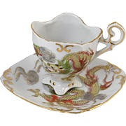 Vintage hand painted Japan / Dragonware / Satsuma /footed / demitasse cup and saucer / porcelain / china / bone china / tea / coffee
