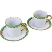 Pair of vintage Fitz and Floyd arctic white green hand painted demitasse cup and saucer / porcelain / china / bone china / tea / coffee / espresso