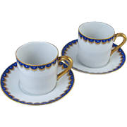 Pair of vintage Fitz and Floyd arctic white blue hand painted demitasse cup and saucer / porcelain / china / bone china / tea / coffee / espresso