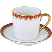 Vintage Fitz and Floyd arctic white red hand painted demitasse cup and saucer / porcelain / china / bone china / tea / coffee / espresso