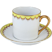 Vintage Fitz and Floyd arctic white lemon yellow hand painted demitasse cup and saucer / porcelain / china / bone china / tea / coffee / espresso
