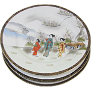 "Set of 3 vintage hand painted Ardalt Occupied Japan decorative 7-1/2"" plates / 6078 / porcelain / china / bone china / shabby chic / decor"