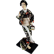 Vintage mid century silk cloth Japanese Geisha doll / 11 inch / Asian / Oriental / Japan / lute / obi / kimono / figurine