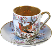 Vintage hand painted birds Samurai Japan demitasse cup and saucer / porcelain / china / bone china / tea / coffee
