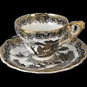 Vintage hand painted black gold Japan demitasse cup and saucer / porcelain / china / bone china / tea / coffee / Greek Key