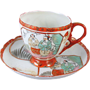 Vintage hand painted Japan footed demitasse cup and saucer / porcelain / china / bone china / tea / coffee