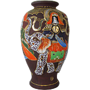 Large vintage hand painted Elephant and dragon Japanese Satsuma urn vase ceramic / pottery / Asian / Oriental / Japan / moriage