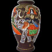 Large vintage hand painted Elephant and dragon Japanese Satsuma urn vase ceramic / pottery / Asian / Oriental / Japan / moriage