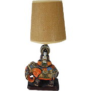 Vintage hand painted Elephant Japanese / India / Indian / Satsuma table lamp / pottery / Asian / Oriental / Japan / moriage / vintage lighting