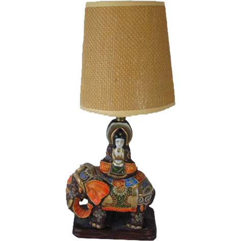 Vintage hand painted Elephant Japanese / India / Indian / Satsuma table lamp / pottery / Asian / Oriental / Japan / moriage / vintage lighting