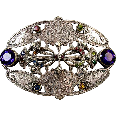 Exquisite antique Victorian silver on brass large sash pin brooch marcasite multicolored glass pastes winged griffin fleur de lis details