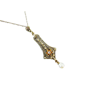 Antique Edwardian 14k gold cannetille filigree diamond and seed pearl buttercup setting lavalier pendant necklace