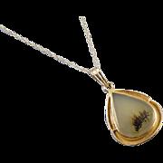 Antique Art Deco 10k gold dendritic moss agate tear drop pendant necklace Miller-Steinau- Portland, Oregon