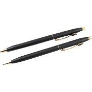 Handsome vintage Dupont pen and pencil set / matte black / gold plated / lead / writing instruments