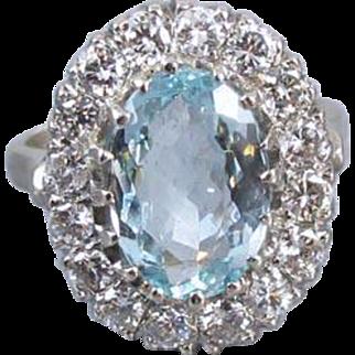 Vintage estate 14k white gold 3.75 carat oval aquamarine with 1.60 carat diamond halo cocktail statement ring, size 7