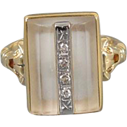 Vintage Art Deco 10k gold concave faceted camphor glass and diamond ring, size 4.5 / signed JJ White Company