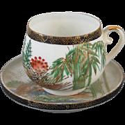 Vintage hand painted Kutani Japan lithophane demitasse cup and saucer / porcelain / china / bone china / tea / coffee / eggshell