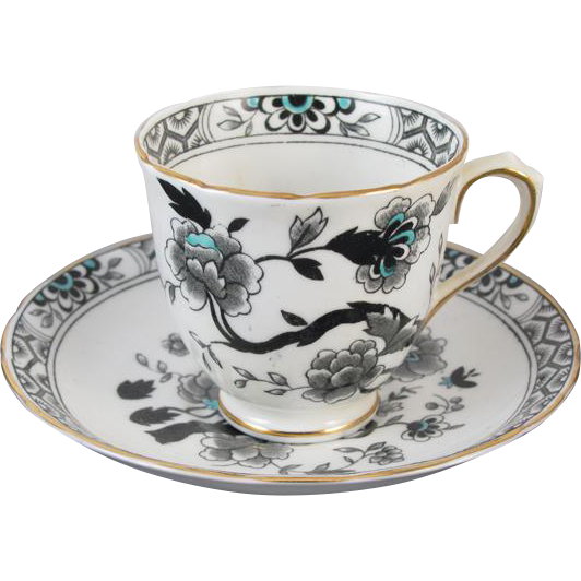 Vintage hand decorated scalloped edge Tuscan Fine English Bone China demitasse cup and saucer / tea / coffee / made in England