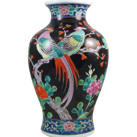 Large vintage hand painted Birds and floral Japanese Satsuma urn vase ceramic / pottery / Asian / Oriental / Japan / Moriage