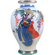 Large vintage hand painted Geisha and floral Japanese Satsuma urn vase ceramic / pottery / Asian / Oriental / Japan / Moriage