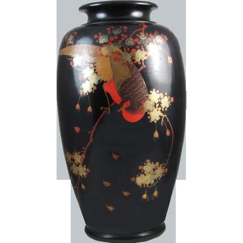 Extra large black vintage hand painted Birds and floral Japanese metal urn vase / metalware / shakudo / Asian / Oriental / Japan