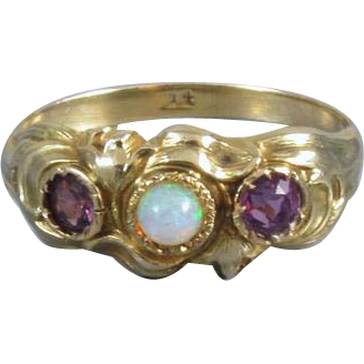 Antique Edwardian Art Nouveau 14k gold opal and amethyst ring / size 6-1/2