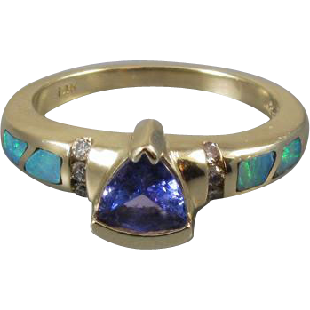 Modern estate signed Asher Collection 14k gold trillion cut tanzanite, diamond and opal inlayed ring / size 7