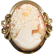 Vintage Art Deco signed JJ White multicolor 10k gold Bacchante wine goddess cameo brooch pin pendant necklace