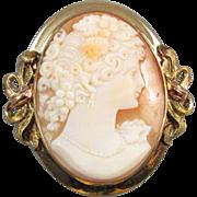 Vintage Art Deco signed JJ White multicolor 10k gold Bacchante wine goddess cameo brooch pin pendant necklace