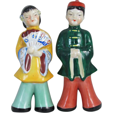 Vintage mid century Made in Japan little boy and girl figurines / hand painted / Asian / Oriental / ceramic / pottery / China / kids