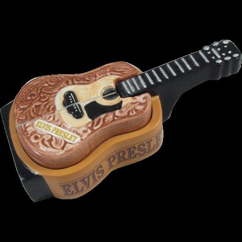 Collectible 2 piece Elvis Presley guitar 3 piece ceramic salt and pepper shaker, guitar stands up EPE Elvis Presley Enterprises