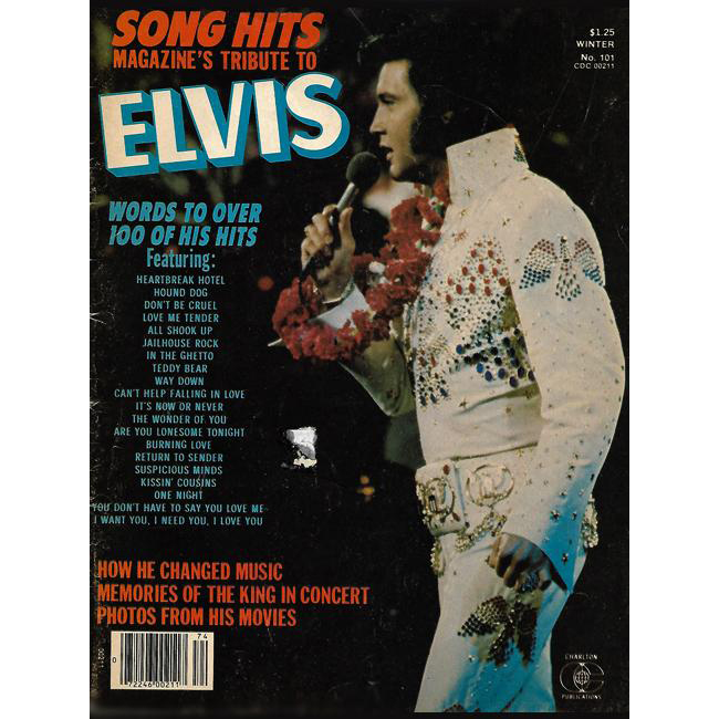 1977 Song Hits Magazine's Tribute to Elvis with lyrics to over 100 of his hits by Charlton Publications with 8 x 10 RCA Victor poster