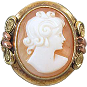 Vintage Art Deco signed JJ White multicolor 10k gold cameo ring, size 4-3/4