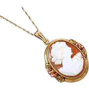 Vintage Art Deco signed JJ White multicolor 10k gold cameo pendant necklace
