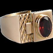 Mans mid century vintage estate 18k gold rhodolite garnet ring, size 9-3/4