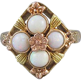 Vintage Art Deco 10k gold opal cluster ring signed Dason Davidson & Sons Jewelry Company (NY, NY) / size 6 / buckle detail / tri color