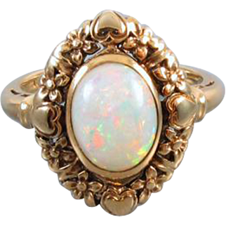 Vintage Art Deco 10k gold opal solitaire ring with ornate hearts and flowers / size 5-1/2