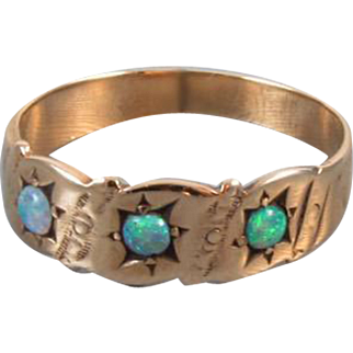 Antique Victorian 10k rose gold three opal band ring / size 5-1/2 / signed Heintz Brothers Jewelry (NY, NY)