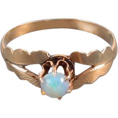 Sweet tiny antique Victorian 10k rose gold opal solitaire pinky midi ring / size 3