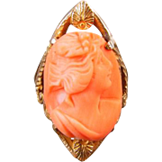 Antique Edwardian Art Nouveau 10k gold high relief coral cameo statement navette ring with seashell accents, pinky ring / size 4-1/2
