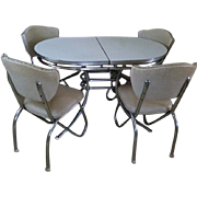 OHIO PICKUP Fantastic vintage mid century retro moderne Art Deco Formica chrome kitchen dining table / 4 matching chairs/ extension leaf
