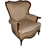 OHIO PICKUP beautiful vintage 1940s brocade cloth fabric neutral wing back living room chair with wood trim Colonial classic decor